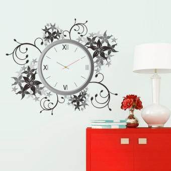 GETEK Creative DIY Flower Rattan Clock Wall Sticker