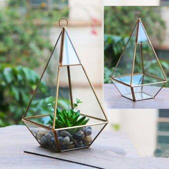 Harga Glass Terrarium Container Flower Planter Fairy Miniature Garden Greenhouse 12cm - Diamond-shaped
