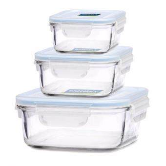 Glasslock GL 155 Square Food Storage Containers, 6 Piece Set