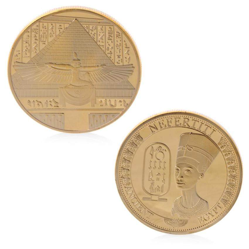 EM Gold Plated Ancient Egypt Nefertiti Commemorative Challenge Coin Collection Gift - intl