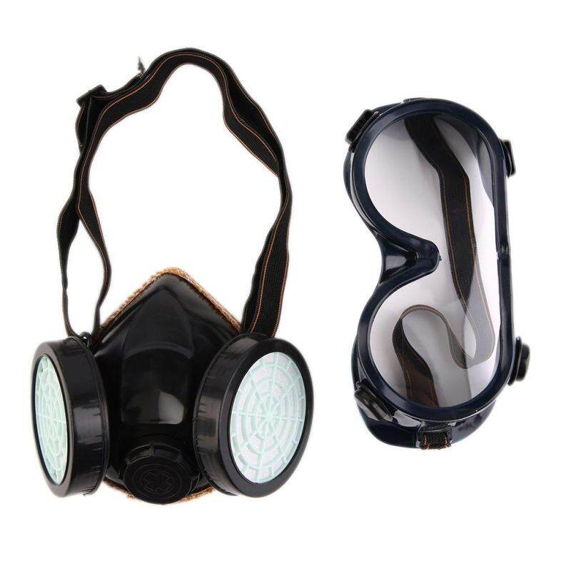 Buy GOOD Protection Filter Double Gas Mask Chemical Gas Respirator Face Mask Goggles Black Malaysia