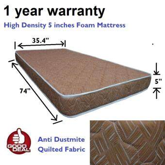 Harga Greenly 5 inches High Density foam mattress - 1 year warranty - quilted fabric with edging