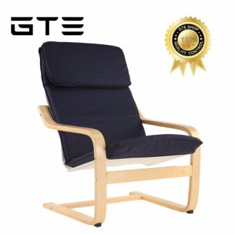 GTE European Simple Solid Modern Wooden Balcony Leisure Armchair Sponge Cushion Sofa Chair Classic Relax Chair Lazy Chair Living Room - Blue