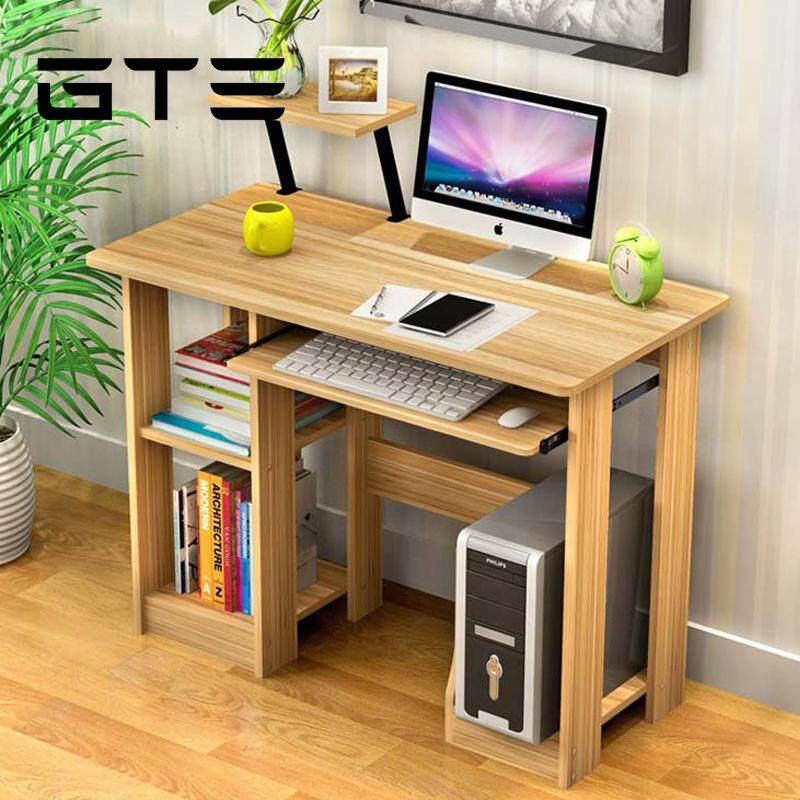 Gte Modern Design Eco Friendly Furniture Computer Table Study Shelf Wooden Desk Brown Malaysia