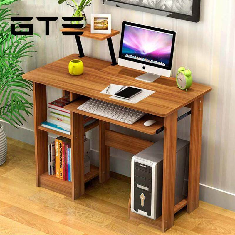 Gte Modern Design Eco Friendly Furniture Computer Table Study Shelf Wooden Desk Dark Brown Malaysia