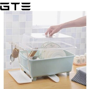 GTE Multi Purpose Kitchen Drain Dish Rack Box Table-ware StorageBox Hanger Cupboard With Lid Dish Rack - Green