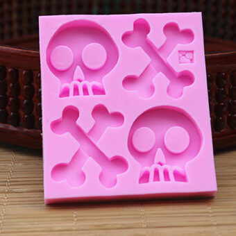 Harga Halloween skull head silicone mold turn sugar cake bones horror chocolate decorative clay tools 1187