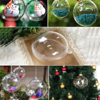 Hanyu 100mm 5pcs Christmas Balls Round Clear Plastic Fillable Ball Ornament
