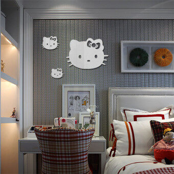 Hello Kitty Mirror Wall Stickers Three Only Cat Mirror Stickers  Childrenu002639s Bedroom Decorative Sticker Z113 Part 65