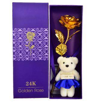 Harga Hequ Good Factory Direct 24k Gold Rose Artificial Flower Valentines Day Bouquet of Mother Blue