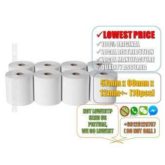 High White Paper Roll 57mm x 60mm x 12mm+- 10pcs (LOCALMANUFACTURE) Cash Register Roll, Receipt Printer Roll