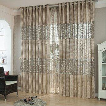 Hollow Leaf Tulle Living Room Drape Valances Door Window CurtainDivider Brown
