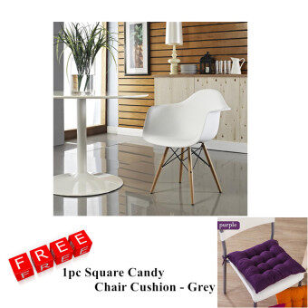 Harga Home & Living: Creative Eames Curvy Design Chair with Armchair (White) With Free Chair Cushion (Purple)
