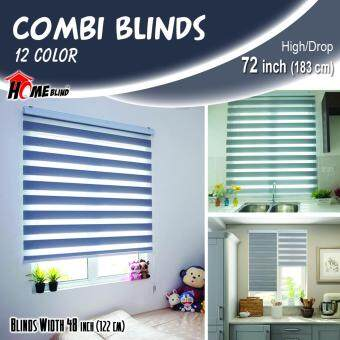 [Home Blind] Width 61cm to 130cm / Zebra Blinds / W122cm x H183cm /Made in Korea (Storm Cloud)