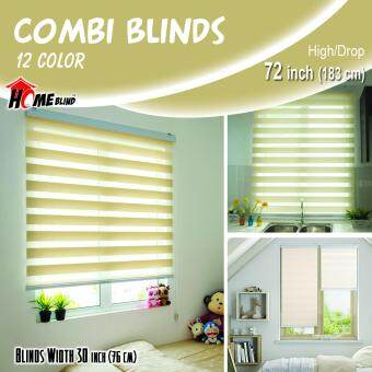 [Home Blind] Width 61cm to 130cm / Zebra Blinds / W76cm x H183cm /Made in Korea (Ivory Yellow)