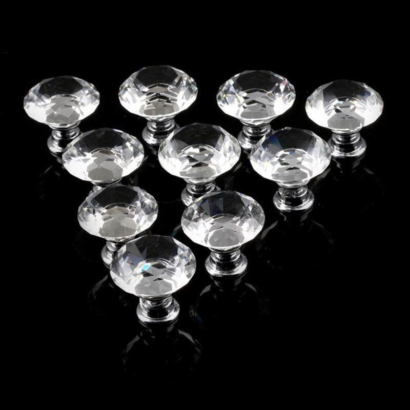 Buy Home Kitchen Crystal Glass Diamond Shape Cabinet Knob Door Drawer Pull Handle 30mm Malaysia