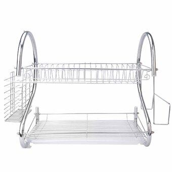 Home Kitchen S Shape Dual Layer Plate Bowel Cup Cutlery DishDrainer Dryer Drip Tray Storage Rack Holder Style 2