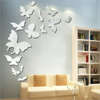 Harga Home Living Room Bath Room Butterfly Carved Mirror Wall StickersDIY Creative Painting