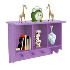 Home Sparkle Purple 3 Compartment Wall Shelf With Hooks