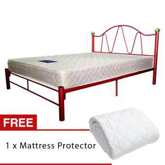 Harga Homez 8 inch Spring Mattress + Powder Coat Metal Bed Frame by 3V(Red) + Protector - (Queen Size)