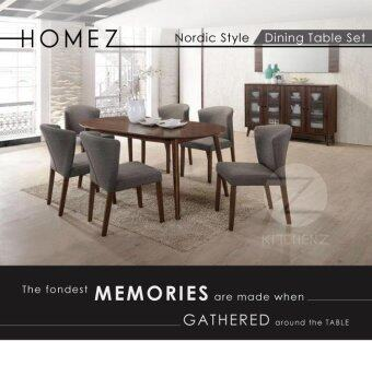 Homez Nordic Style Solid Wood Dining Table DT806+5010 with 6 Chairs - WALNUT