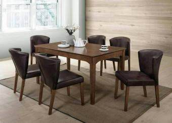 Homez Nordic Style Solid Wood Dining Table SADT818+DC5010 with 6Chairs - Dark Brown