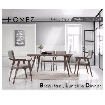 homez solid wood dining table dt831dc2234 with 6 chairs walnut