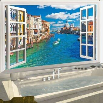 Harga Hot Sale 60*90cm Italy Venice 3D Window Removable Art Vinyl QuoteWall Stickers Decal Mural Home Room Home Decor
