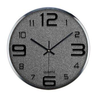 Harga HOT SELLER 30cm GLIT Clock Wall storage Clock Adhesive Decal Modern Black box time piece art deco (Grey)