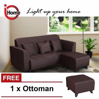 I HOME LUCKY 3 Seater Sofa Set / Fabric Sofa Upholstery (Brown)