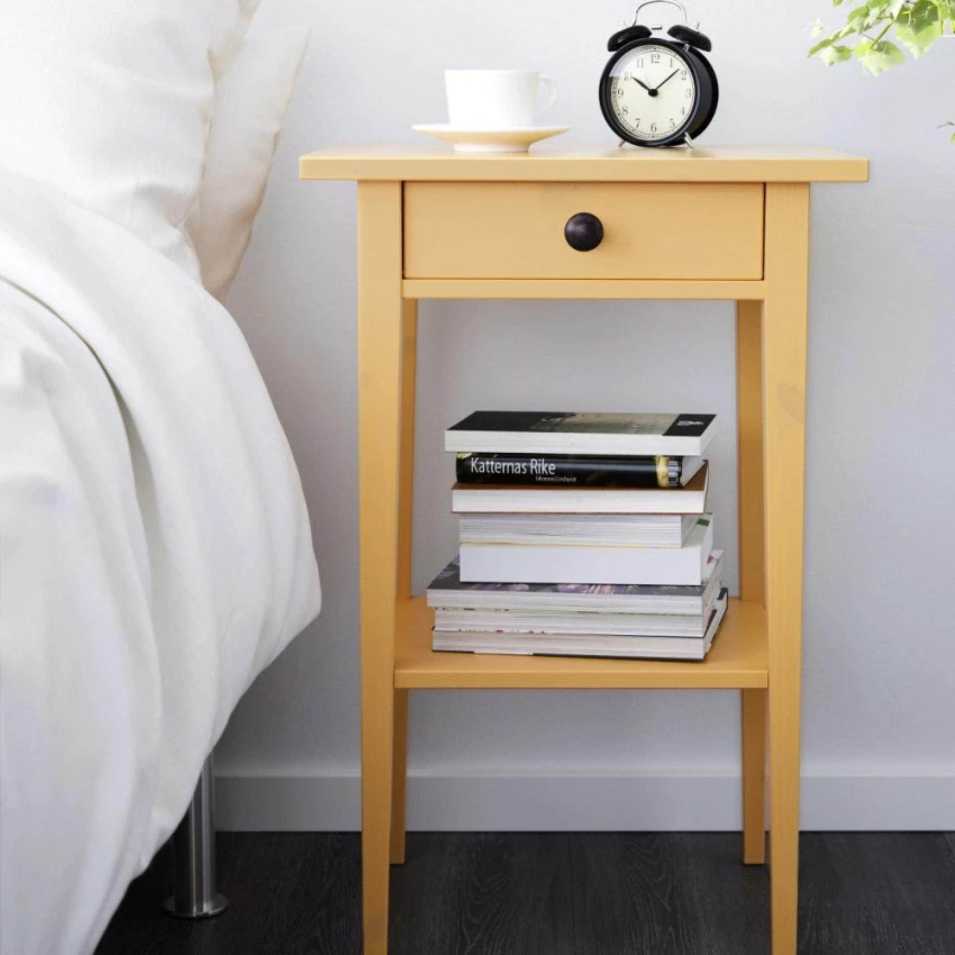 IKEA Hemnes Bed Side Table with Solid Pinewood Bedside Yellow