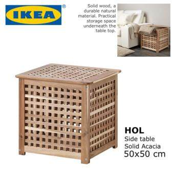 ikea hol resort style bed side end table with storage space furniture solid acacia wood