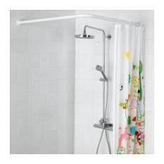 Ikea L Shape, U Shapre, Corner Shower Curtain Rod FREE With 12 Pieces Curtain  Rings 90 160cm (White)