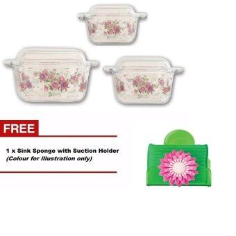 Harga Giacomo 3 unit decorated borosilicate square casserole set (Ocarina Design)