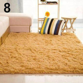 Harga Broadfashion Living Room Bedroom Home Anti-Skid Soft Shaggy Fluffy Area Rug Carpet Floor Mat (Khaki)