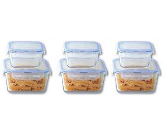 Harga Giacomo 6pcs Square airtight glass container set