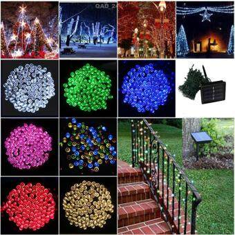 Harga Outdoor Solar String Lights Festival Celebration Christmas Patio Waterproof Lights 100LEDs 12M 8 Modes Solar Powered Fairy Lights (Multicolor)