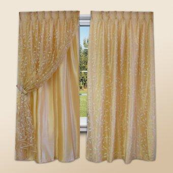 Harga Essina French Pleated Curtain 2 Layer Window - Cedar
