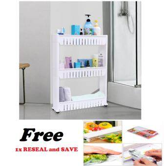 Harga Movable 3 - Tier Slim Wheel Rack with 1x Reseal & Save Bag Sealer - Storage Bag Polybag Sealer