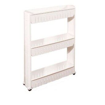 Harga Multi-Purpose 3 Layer Movable Portable Storage Rack - White