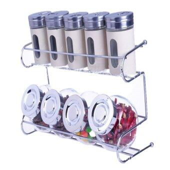 Harga Kitchen Spice Container Set with Rack Holder (White)