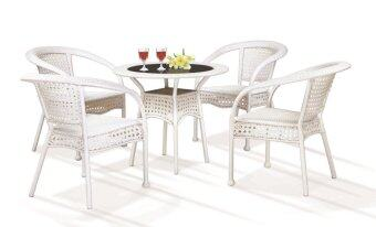 Harga Lavin Rattan Outdoor Dining Set - GS 8122 White
