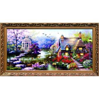 Harga DIY Handmade Cross Stitch Embroidery Kits Garden Cottage Design Home Decor