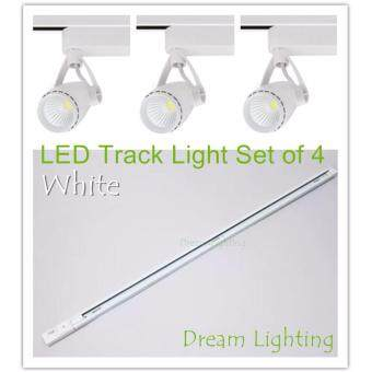 Harga Set of 4 - 1 Meter Track Light with 3 LED Light - 7W COB Track Rail LED Light Spotlight Lamp Adjustable Dream Lighting for Shopping Mall Clothes Store Exhibition Office Use -Warm white (3000K)