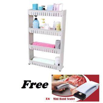 Harga Movable Space Saving Stoarge: 4 Tier Slim Wheel Rack with 1 x Mini Hand Sealer