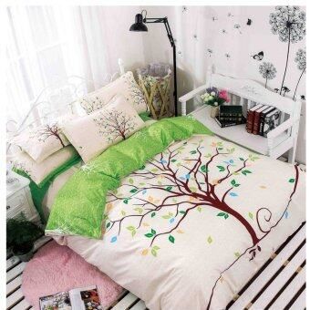Harga Bed Sheet Set With Quilt Cover 800 Thread Count Tree Design Green