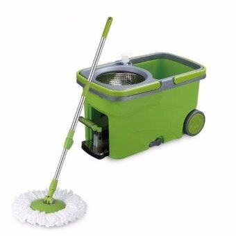 Harga Easy Spin Mop Micro-Fiber Cloth / Floor Cleaner w/Stainless Steel Basket, Pedal & Wheels (Green)