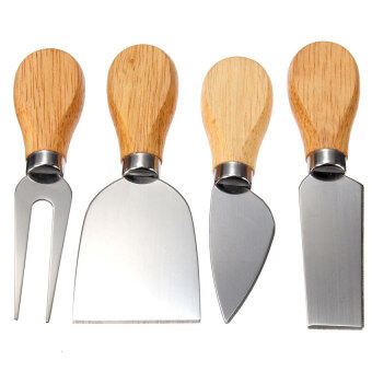 Harga LZ 4Pcs Stainless Oak Wood Handle Cheese Butter Blade Fork Knives Setkitchenware