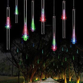 Harga MOON Store 8pcs 30cm Meteor shower/icicle Home Hotel Bathroom Living Room LED String Light Decoration (colorful, US plug)