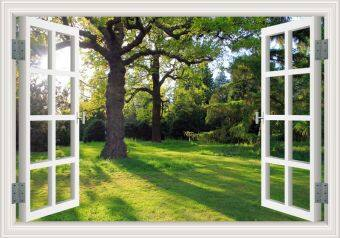 Harga 60x90cm 3D Creative Window View Green Tree Decal Removable Summer Forest Wall Sticker Home Decor